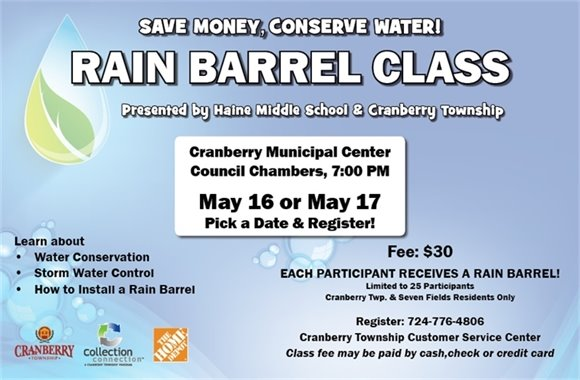 Rain Barrel Class May 16 or May 17
